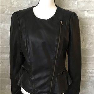 Elle peplum style Faux leather jacket.